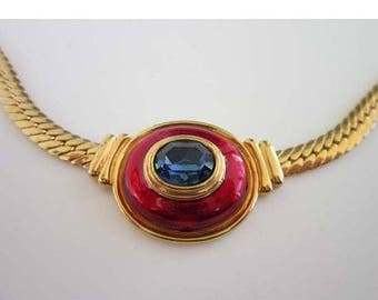 50% OFF Modernist Omega chain choker necklace with Red enamel & blue rhinestone center piece