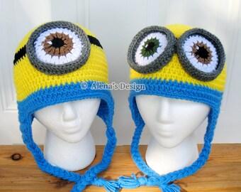 Crochet Pattern 200 Crochet Hat Pattern Minion Hat Ear Flap Hat Toddler Boy Girl Teen Adult Hat Pattern Winter Christmas Gift