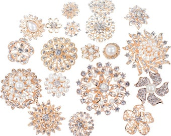 50pcs Gold Brooch Bouquet Supplies Mixed Pack, Wedding Broach Bouquet Brooches with Clear Stones and Pearls, 711-GP