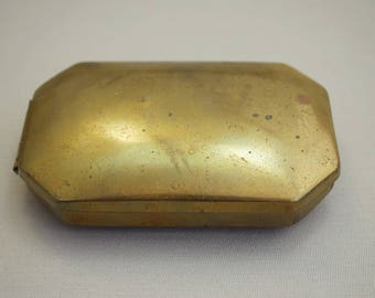 Vintage Brass Box with Age Patina Old Presentation Box Small Brass Box