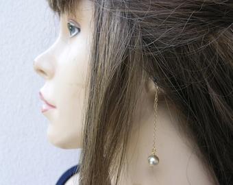 Drop pearl earrings, Long pearl earrings, One pearl earrings, Wedding earrings, Bridal earrings pearl, Bridal pearl earrings, Minimalist.