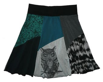 Owl Upcycled Skirt Women's Large XL Boho Hippie Skirt Festival Skirt 12 14 recycled t-shirt clothing midi skirt Twinkle Skirts Twinklewear