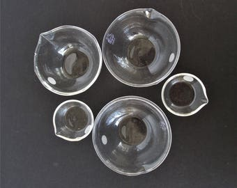5 Small Glass Evaporating Dishes Labware Pyrex Vycor Chemistry Science Laboratory 3.5 diameter