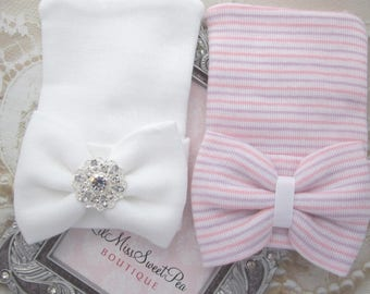 Newborn or Baby Shower Gift Set - Two Newborn Hospital Hats, matching fabric bows, rhinestone, beenie, beanie, baby hat, Lil Miss Sweet Pea