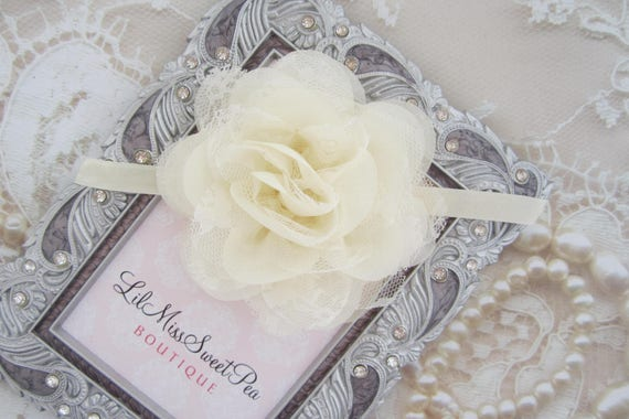 Ivory 4 inch lace and chiffon petal flower on 3/8 inch elastic or a clip, bebe, foto, flower clip, photos, neutral color, Lil Miss Sweet Pea