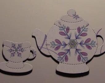 TEAPOT and TEACUP Magnets - Made from Recycled GREETING Card - Not  Soda Can