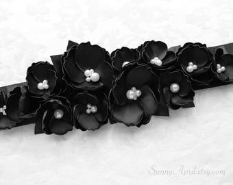 Black Floral Sash/ Ribbon Sash/ Handmade Accessory