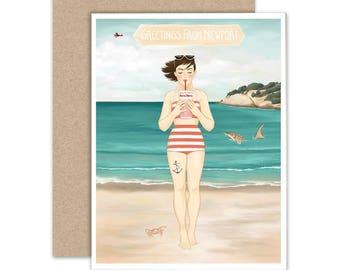 "Blank Inside Notecard, Illustrated Notecard, ""The Sturgeon"", Beach Art"