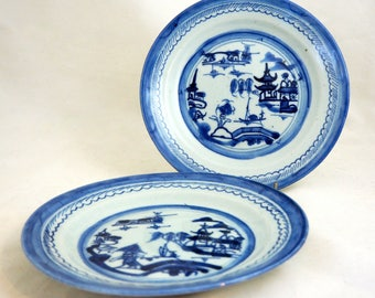 "2 Antique Delft Plates, Pair 18/19thC English/Dutch Cobalt Blue Delft Handpainted Chinoiserie 8.5"" Breakfast Plates,"