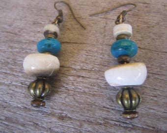 from the ocean, earrings of shell, stone and brass, tropical jewelry