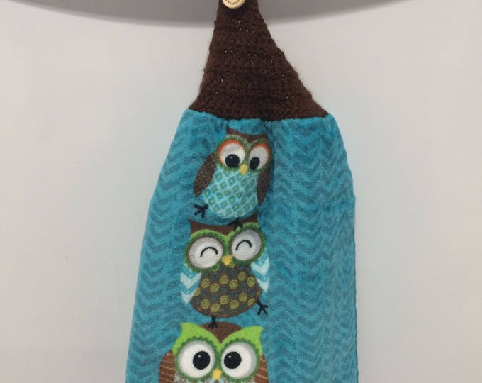 Hanging Kitchen Towel, Kitchen Towel, Hanging Towel, Owl Hanging Towel