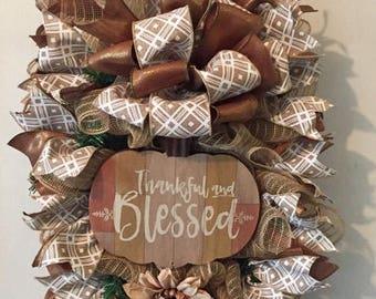 Thankful And Blessed Fall Swag, Fall Swag, Fall Wreath, Pumpkin Wreath, Fall Decor
