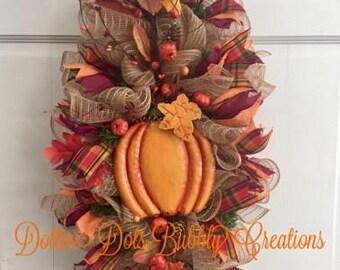 Fall Pumpkin Berry Swag, Fall Swag, Fall Wreath, Pumpkin Swag, Pumpkin Wreath, Fall Decor, Thankgiving