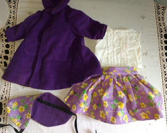 "Vintage 1950s Shirley Temple Doll 17"" Purple Outfit With Coat Clothes Four Pieces Vintage Mommy Made Vinyl Shirley Temple"