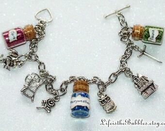 Sleeping Beauty Bracelet, Aurora, Briar Rose  Magical Charm Bracelet Disney Inspired, Sleeping Beauty Cosplay, Disney Bound Good Fairies