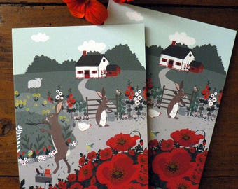Set of 2 Rabbit postcards