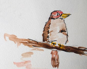 Signed Watercolor Print, Sparrow, 8.5x11 inches, Nature Painting, Wildlife art, Watercolor painting, Wall art