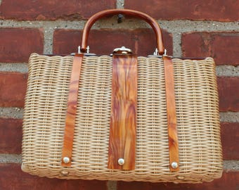 Wicker Purse Lucite Cypress Gardens Florida