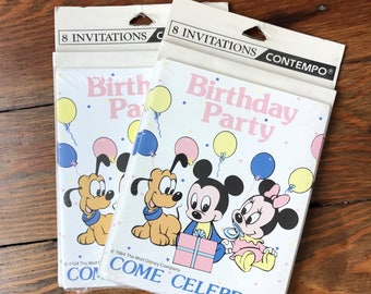 Cute Vintage 80s Mickey and Minnie birthday party invitations (2 packs of 8 invites each)