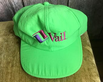 Vintage 80s 90s neon green Vail hat