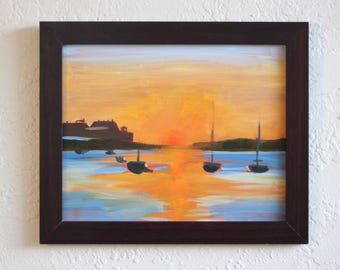 St. Pete Sunrise (Original Oil on Panel Painting)