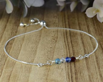 Any 1-6 Swarovski Crystal Birthstones Adjustable Sterling Silver Interchangeable Charm/Link Bolo Bracelet- Charm, Bracelet Chain, or Both