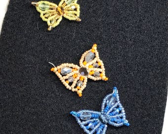 Beaded butterfly appliques