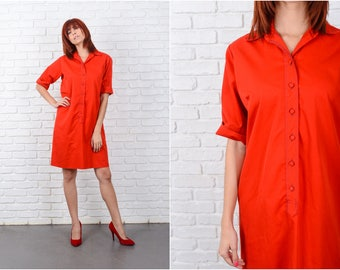Vintage 80s Red Shirt Dress Button-down Cotton Shift Medium Large M L 9679