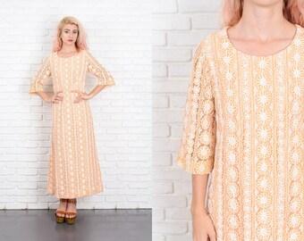 Vintage 60s 70s Cream Lace Cutout Dress A Line Maxi Medium M 9956 vintage dress 60s dress 70s dress cream dress lace dress cutout dress