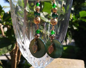 Green and Gold bead earrings
