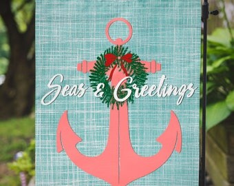 Christmas Flag | Seas & Greetings Anchor | Beachy Christmas | Garden or Large House Flag | Size via Dropdown | Convo for Custom