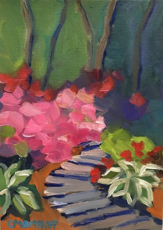 Color Garden Small Landscape Oil Painting with Flowers
