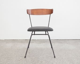 Mid Century Bentwood Iron & Leather Chair