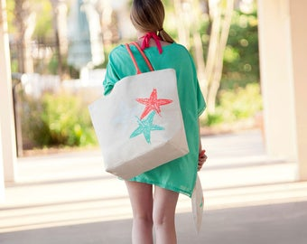 Starfish Beach Bag, Personalized Beach Bags, Large Canvas Tote Bag, Large Beach Tote, Embroidered Beach Bag