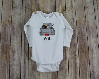 Duck Hunting Baby Outfit, Personalized Hunting Shirt, Toddler Boy Shirts, Duck Hunting Dog Boys Shirts