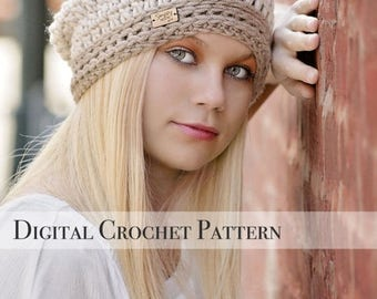 ON SALE Crochet Pattern / Signature Slouchy Hat Pattern 038 / Crochet Hat Pattern / Womens Slouchy Hat  / Slouchy Beanie / Fall Fashion / Sl