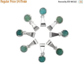 10% off Independence Day Mini Round Teal Druzy 6mm Pendant with Electroplated Silver edged (S88b8-12)