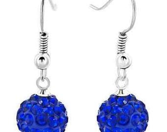 10mm Dark Blue Shamballa Dangle Drop Swarovski Crystal Pave  Earrings With 925 Sterling Silver French Ear Wires