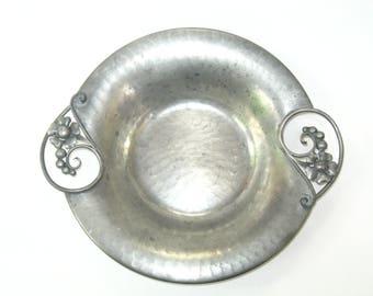 "Serge Nekrassoff Hand Hammered Pewter Art Deco Floral Handled Dish / Bowl 9.75"" Across Handles"