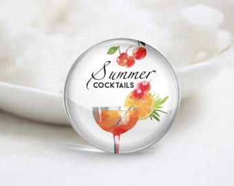 Summer Cocktails Photo Glass Cabochons (P3826)