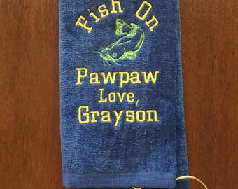 Fishing, fishing towel, crappie, catfish, trout, bass fishing, fishing gift, personalized fishing, custom fishing towel, monogrammed,