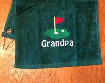 golf towel ready to ship as is, i used the wrond colors and had to redo them, your gain our loss