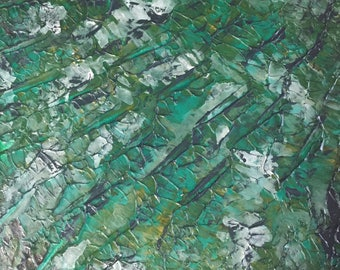 metallic silver acrylic canvas wall art canvas painting abstract impasto painting palette knife painting abstract artwork green canvas art