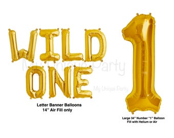 "WILD ONE Letter Balloons Set of 7 Letters Air Fill only Wild One Banner Foil  / Large 34"" Number 1 Balloon Helium Quality / 2nd Birthday"