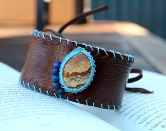 Leather Cuff - Picture Jasper Stone - Stone for Comfort and Alleviating Fear - OSFM