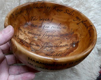 Apple Welsh Poem Bowl: 'Taliesin Cauldron'
