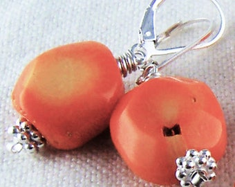 Orange Coral Earrings Sterling Silver Lever Back Beaded Dangle Chunky Beaded Artisan Handcrafted Natural Handmade Jewelry Ocean Beach Bridal