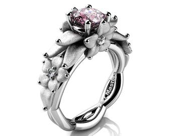 Nature Inspired 14K White Gold 1.0 Ct Light Pink Sapphire Floral Engagement Ring R460-14KWGSLPS