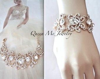 Gold crystal bracelet ~ Brides gold bracelet ~ Gold wedding bracelet ~ Gold wedding bracelet ~ Gold crystal statement bracelet ~ ANGELINA
