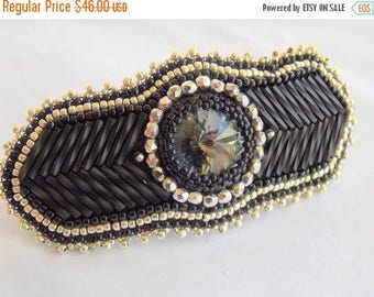 Summer sale -15% Bead Embroidery,  Barrette,  Seed bead jewelry ,Swarovski jewelry,  Swarovski, Black, Silver, Hair clip, Classic